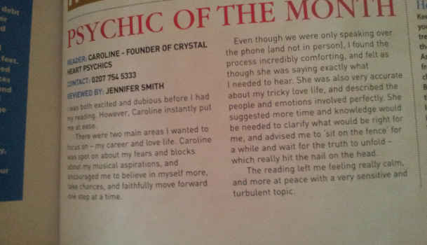 Soul & Spirit magazine | Interview with a psychic | Caroline Founder of Crystal Heart Psychics OCTOBER 2013 |Psychic Readings Where The Heart Matters