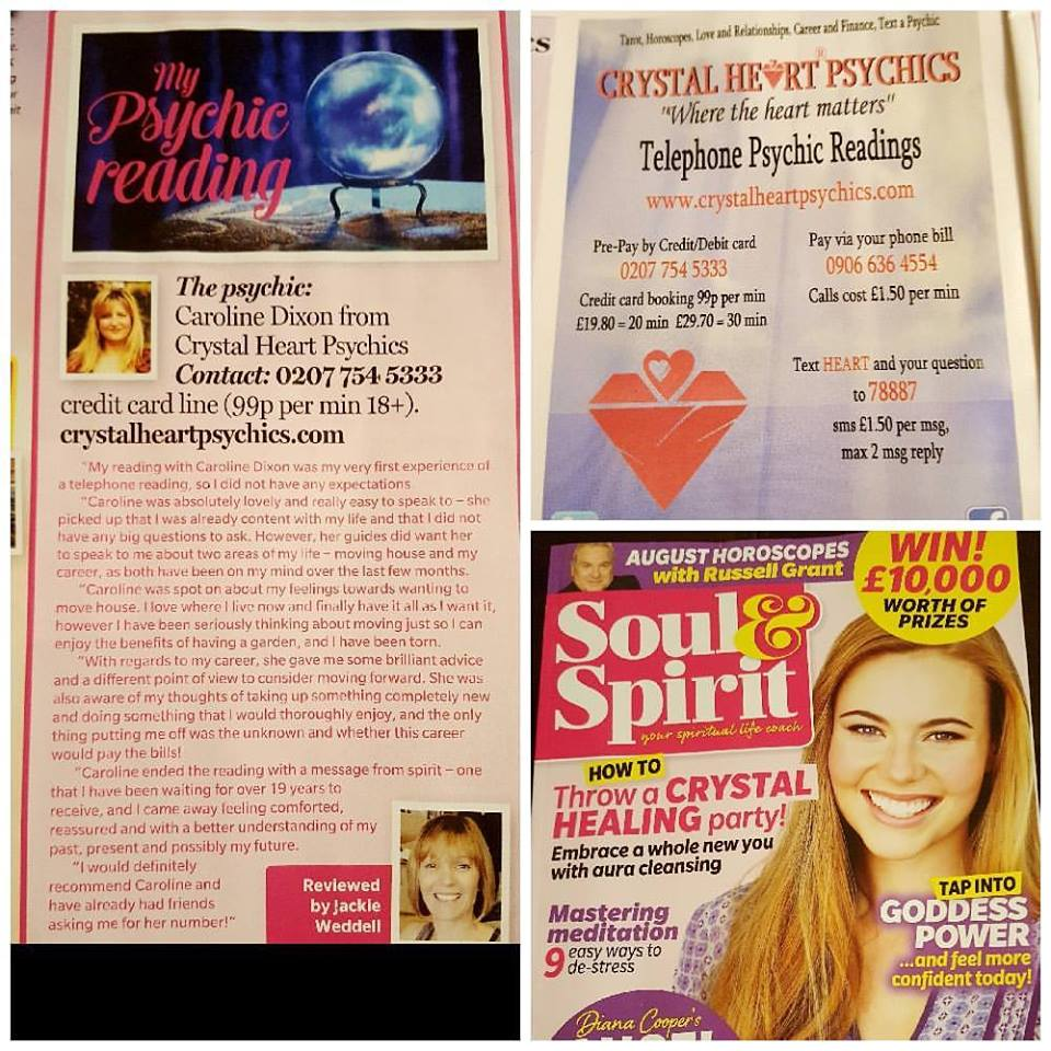 Soul & Spirit Magazine August 17 Psychic reading review with Caroline Founder of Crystal Heart Psychics